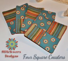 Four Square Coasters Sewing Pattern Free Tutorial! Easy to Make! Great shower, housewarming or party gift!