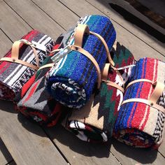 Love these colorful woven patterned blankets from Ensenada and hand made in Northern California. Great for hanging out at the park, beach, or even just for keeping warm around a campfire.