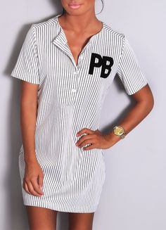 Pink Boutique Home run white #pinstripe #shirt #dress http://www.pinkboutique.co.uk/new-in/home-run-white-pinstripe-shirt-dress.html #pinkboutique