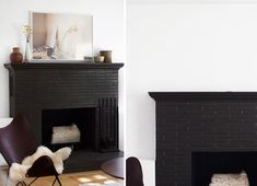 black brick fireplace and simple mantle to offset the white walls and shelving. Brick Fireplace Mantles, Painted Brick Fireplaces, Paint Fireplace, Black Fireplace, Painted Bricks, House On The Rock, Living Room Inspiration, Inspired Homes, Small Spaces