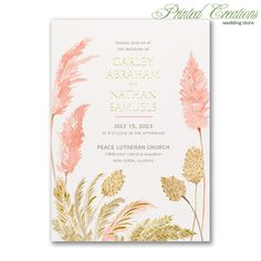 Luxurious Grasses Invitation - Gorgeous nature-inspired with gold raised foil accents.  If your wedding is rustic themed or peach is your color, this is a unique card.  Shop this and many more wedding invitations at PrintedCreationsWeddingStore.com.  #weddinginvitesrustic #peachweddinginvitations  #peachweddinginvites  #natureweddinginvitations  #natureweddinginvites  #weddinginvitationspeach  #weddinginvitations  #invitationswedding #weddinginvites #inviteswedding #rusticweddinginvitations