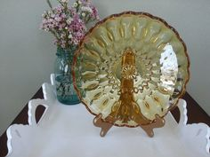 Vintage Amber Cake Plate by MissVintageTwist on Etsy, $15.00