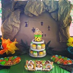 "Dessert table at a ""Croods"" themed caveman party!--Sweet Libby Cupcakes and Cookies"