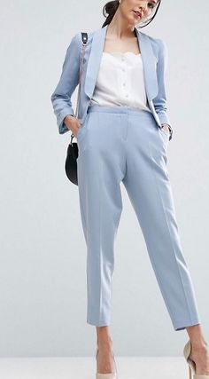 Women Pant Suits Light Sky Blue Work Wear for Ladies Pant Suits Women Business Formal Office Uniform Trouser Suit Ladies Trouser Suits, Trousers Women, Pant Suits, Outfits Mujer, Outfits Damen, Costumes Bleus, Blazers For Women, Pants For Women, Suits Women