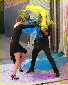 Willow Shields & Mark Ballas Have A Massive & Very Colorful Paint Fight During 'DWTS' Practice