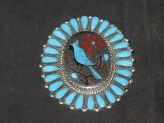 Zuni Pendant Pin Inlaid Blue Bird design by L H Etsy
