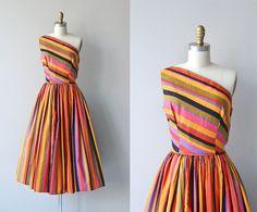 Tangiers Stripe dress • vintage 1950s dress • striped cotton 50s dress