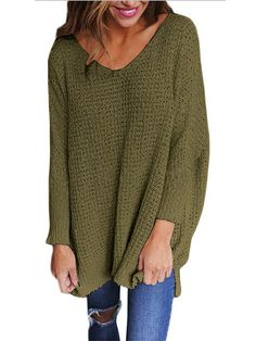 Wide V Neck Long Sleeve Sweater