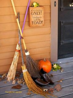 Homemade brooms? Any stick- branch or broken handles from the house make straw skirt- could spray paint handles fun colors and glitter