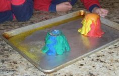 """""""Versions of Volcanoes"""": Take the classic volcano reaction, explore new ways to make/learn from this activity, and let your child get some hands-on practice with chemistry!"""