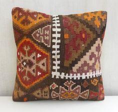 Kilim Pillow Cover Tribal Decorative Throw by PillowTalkOnEtsy, $52.00