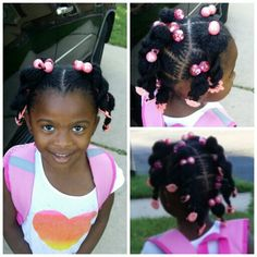 My daughter Rhyan's sisterlocked hair - ponytails for the 1st day of school.