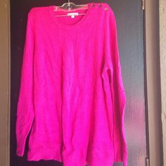 Hot pink sweater Has the secretive buttons on top in good condition just wrinkled GAP Sweaters Crew & Scoop Necks