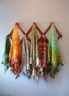 """knittinginthedesert: """" Beautiful homespun shawl medley """""""