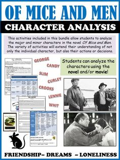 The variety of activities included in this file allow students to analyze the major and minor characters within the novel Of Mice and Men. The activities will extend their understanding of not only the individual character, but also their actions or decisions. The activities require students to look beyond the surface of the character and think critically.