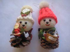 vintage pinecone ornaments $8
