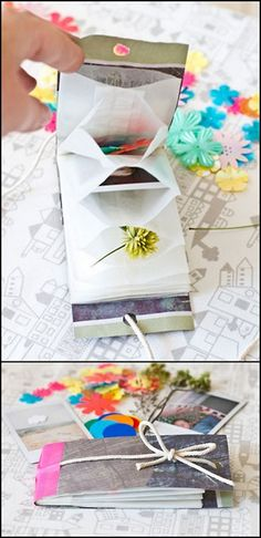 rainbowsandunicornscrafts: DIY Treasure Book Tutorial for Accordion Style. Use glassine bags, paper bags or envelopes etc . Simple instructions from Bloesem Kids here. Book Crafts, Diy And Crafts, Crafts For Kids, Arts And Crafts, Origami, Diy Projects To Try, Craft Projects, Craft Ideas, Diy Paper