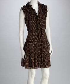 Brown polka dot ruffle dress