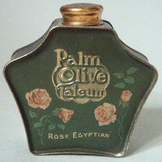 icollect247.com Online Vintage Antiques and Collectables - REALL NICE EARLY PALM OLIVE TALCUM POWDER ADVERTISING TIN
