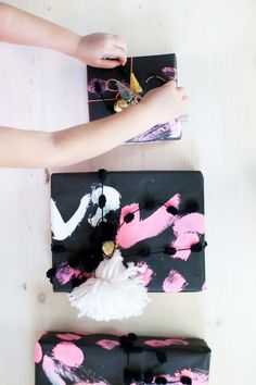 painted wrapping paper DIY