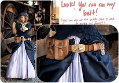 How to make a steampunk utility belt from Susan Dennard - with a quick raid of a junk store for a purse with pouches and a belt, some safety pins, some embellishments, and a savvy sense of style. Put it on top of a classy Victorian outfit, and you have outstanding style.