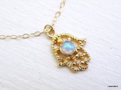 Hamsa Necklace  Gold Necklace   Hamsa Hand Charm  by lavenders, $34.00