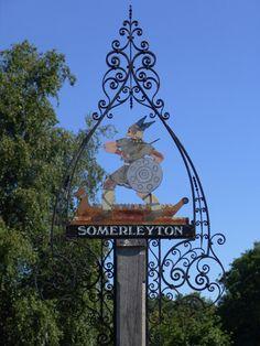 Village Sign on Somerleyton, Norfolk, England