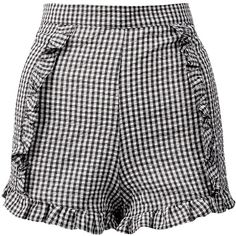 Sans Souci Black ruffle gingham shorts (90 SAR) ❤ liked on Polyvore featuring shorts, bottoms, black, back zipper shorts, flounce shorts, ruffle shorts, frill shorts and frilly shorts