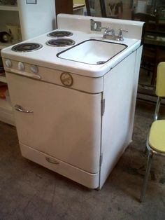 """L & K Stove-Sink-Fridge Combo -- Sweetness in a combo... that's the 1953 General L-K Model R-520 Stove, Sink, Fridge in just a few words. (27"""" d X 28"""" w X 40"""" h [top of back]; 400.00)"""