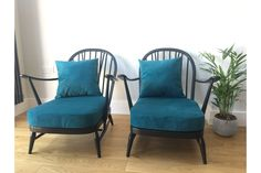 A pair of stunning Ercol Chairs. I have two of these chairs. Price now per chair, however a discount is available if buying them as a pair, see my other listing. These chairs have been re-painted with Autentico Vintage Lounge Chair, Cushions, Chair Upholstery, Furniture, Chair, Ercol Furniture, Upcycle Chair, Painted Chairs, 1960 Furniture