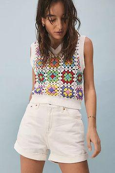 Mode Crochet, Knit Crochet, Look Fashion, Retro Fashion, Urban Outfitters, A Line Shorts, Short En Jean, Crochet Fashion, Crochet Designs