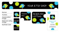 Spotty Sparrow Premade Etsy Shop Design Set by miamardesign, $17.00 Appreciation Images, Design Set, Business Cards, Banner, Etsy Shop, Logos, Unique Jewelry, Handmade Gifts, Shopping