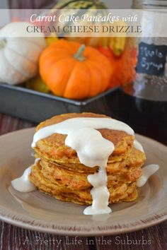 Carrot Cake Pancakes with Cream Cheese Drizzle - A Pretty Life In The Suburbs