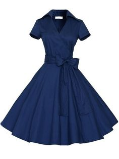 Buy Vintage Lapel Bowknot Plain Skater-dress online with cheap prices and discover fashion Skater Dresses at Fashionmia.com.