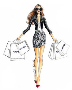 Chanel shopping spree fashion illustration by @samanthaeforsyth - Prints available at www.samantheforsythny/etsy.com
