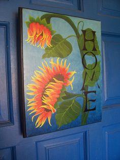 HOME - Sign - Sunflower - Plaque -  Wall Hanging - Original Design - Hand Painted.  via Etsy.