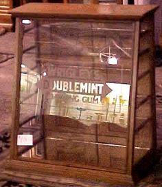 Oak Doublemint Gum Store Display Case, BRASS LANTERN ANTIQUES