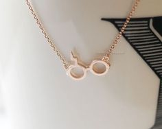 harry potter necklace in rose gold, glasses necklace, harry potter symbol necklace, cool necklace, harry potter glasses by MissDiary on Etsy