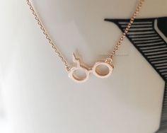 harry potter necklace in rose gold, glasses necklace, harry potter symbol necklace, cool necklace, harry potter glasses by MissDiary on Etsy