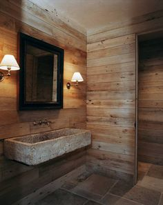 Contemporary Small Wooden Bathroom Design With Wall Lamps In Brown