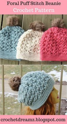 Puff Stitch Beanie Hat Crochet Pattern. Use this Slouchy Beanie Crochet Pattern to make a beautiful hat with a floral puff stitch. It is far easier to work and has more drape than a jasmine stitch.  #crochethatpattern, #crochetbeaniepattern, #crochetpuffstitchhat, #crochetbeanie, #crochethat, #crochettexturedhat, #crochetjasminestitch