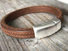 Heren lederen armband bruine motief armband bruine leren