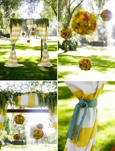 Love this!!   Striped ceremony altar + hanging flowers, Outdoor Modern Wedding: Shannon + Bill, Photography by Jasmine Star