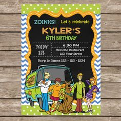 Scooby Doo Invitation  . Printable/Digital File P205 by Invitationcard on Etsy https://www.etsy.com/listing/238616184/scooby-doo-invitation-printabledigital