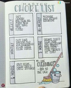 I love cleaning! said no one ever. Smart layouts for household chores, for journal or planner.