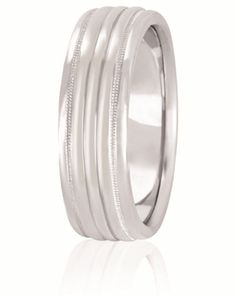 Fluted Wedding Band With Milgrain Channels