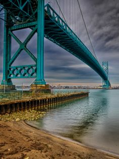 Ambassador Bridge connects the the United States to Canada through the cities of Detroit (US) and Windsor (Canada). by Steven Wosina, via 500px