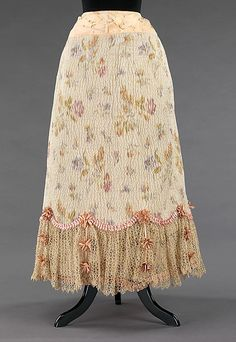 Petticoat  Date: 1895–1900 Culture: American Medium: silk, linen Dimensions: Length at CB: 34 in. (86.4 cm) Credit Line: Brooklyn Museum Costume Collection at The Metropolitan Museum of Art, Gift of the Brooklyn Museum, 2009; Anonymous gift, 1937 Accession Number: 2009.300.3014