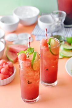 Watermelon Basil Lime Iced Tea | The Candid Appetite (Icetea Healthy)