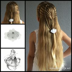 Woven mermaidbraid into a fishtailbraid with little flowers from the webshop www.goudhaartje.nl (worldwide shipping).   Hairstyle inspired by: @vlechtidee (instagram/facebook)   #hair #hairstyle #braid #braids #plait #trenza #peinando #beautifulhair #longhair #blonde #gorgeoushair #stunninghair #hairaccessories #hairinspo #braidideas #hairstylesforgirls #jewlu #goudhaartje